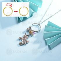 collar de multi color charm DIY en acero inoxidable -SSNEG142-14951