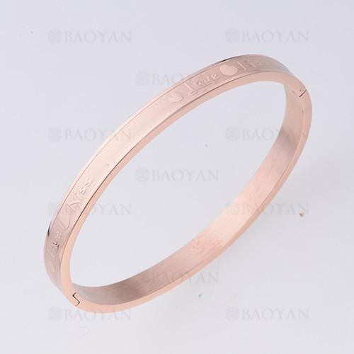 pulsera con corazon en acero inoxidable de oro rosado-SSBTG1225467