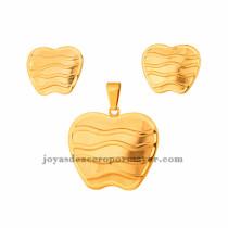 dije y aretes de manzana en acero de dorado para mujer-SSSTG073444