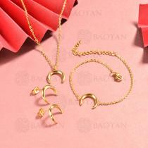 conjunto de collar y aretes en acero inoxidable -SSBNG126-15067