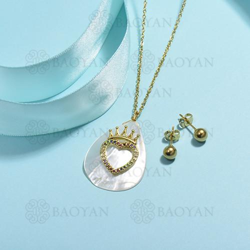 conjunto de collar de bronce y concha -SSCSG107-15851