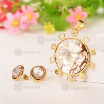 Conjunto de Cristal en Acero Dorado Para Mujer -SSSTG107-5581