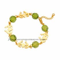 brazalete de bola cristal verde especial  en acero dorado inoxidable -SSBTG953643