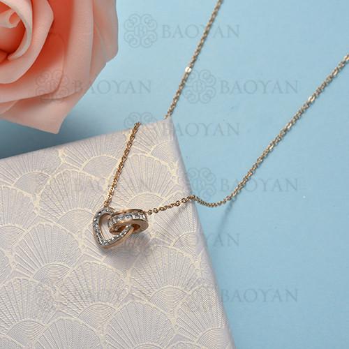 collar de color oro rosado en acero inoxidable -SSNEG175-15882