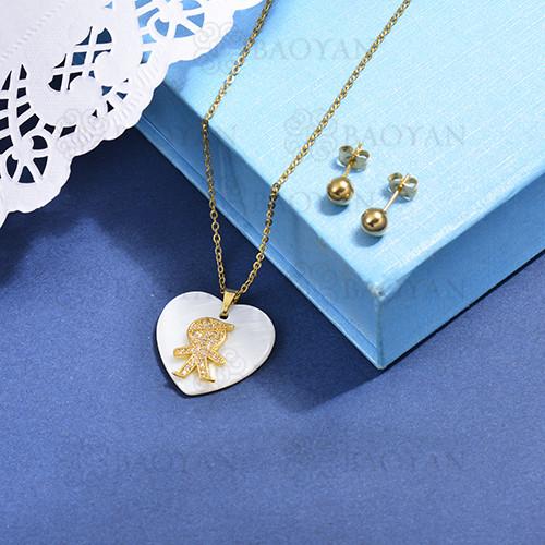 conjunto de collar de bronce y concha -SSCSG107-15869
