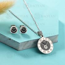 Conjunto de Collar de Numerales romanos en Acero Inoxidable -SSNEG143-13035