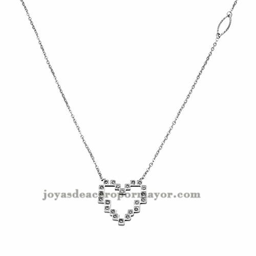 collar de corazon con cristal en acero inoxidable de plateado para mujer-SSNEG402113
