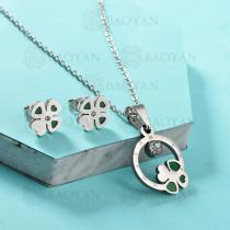 Conjunto de Collar de Trebol en Acero Inoxidable -SSNEG143-13038