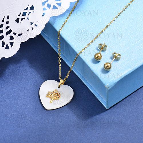 conjunto de collar de bronce y concha -SSCSG107-15870