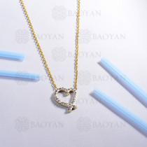collar de acero inoxidable para mujer -SSNEG143-14804-E