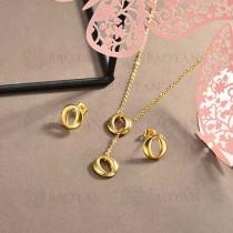 conjunto de collar y aretes en acero inoxidable -SSCSG126-15033