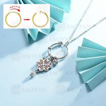 collar de multi color charm DIY en acero inoxidable -SSNEG142-14950