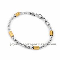 brazalete de estilo simple en acero plateado inoxidable para mujer -SSBTG953651