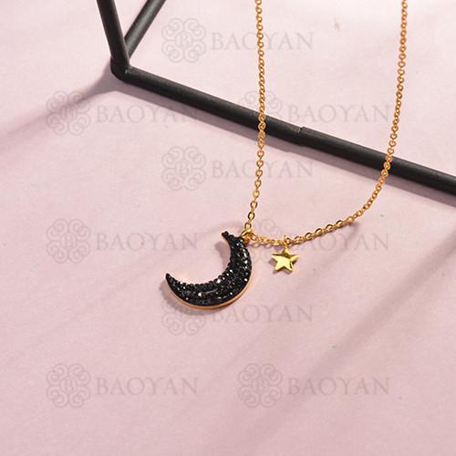collar de acero inoxidable para mujer -SSNEG143-14809-G