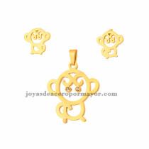 juego de dije y aretes de mono de dorado en acero inoxidable para mujer-SSSTG073262