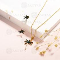conjunto de collar y aretes en acero inoxidable -SSCSG143-15331-G