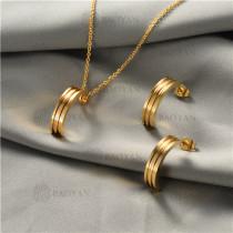 juego collar y aretes en acero inoxidable-SSNEG129-10024
