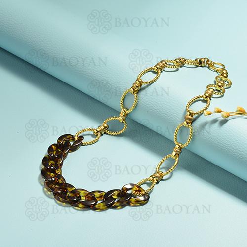 collares de acero inoxidable para mujer -SSNEG143-15387-G