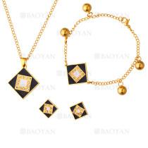 juego collar ,aretes y brazaleta forma especial brillante negro en acero dorado inoxidable -SSNEG1153586