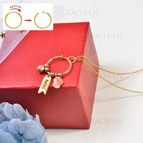 collar de charms DIY en acero inoxidable -SSNEG142-16249