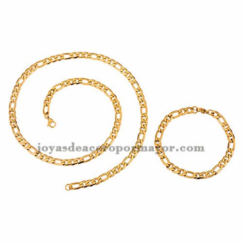 juego collar y brazalete dorado simple  en acero inoxidable para hombre -SSNEG462677