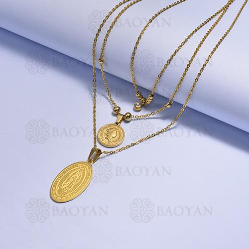 collares multi capa de Acero Inoxidable medalla para Mujer -SSNEG171-14726