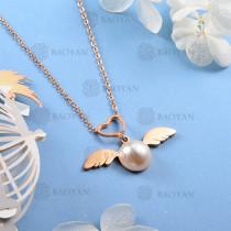 Collar de Perla Imitacion en Acero Inoxidable -SSNEG143-12086