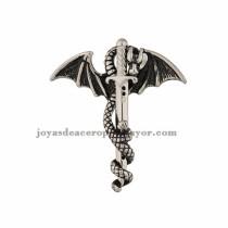 dije de dragon con espada en acero plateado inoxidable -SSPTG971042