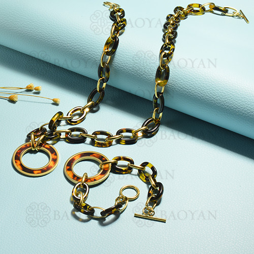 conjunto de collar y aretes en acero inoxidable -SSBNG143-15386