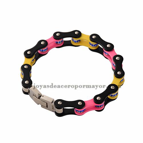 cadena brazalete indio de la bicicleta en colores del arco iris de acero inoxidable por mayor-SSBTG382336