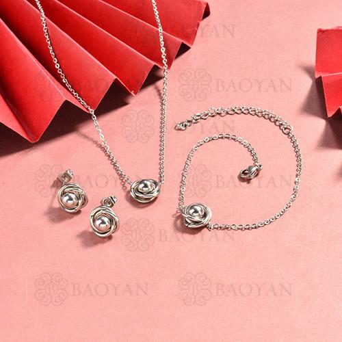 conjunto de collar y aretes en acero inoxidable -SSBNG126-15053