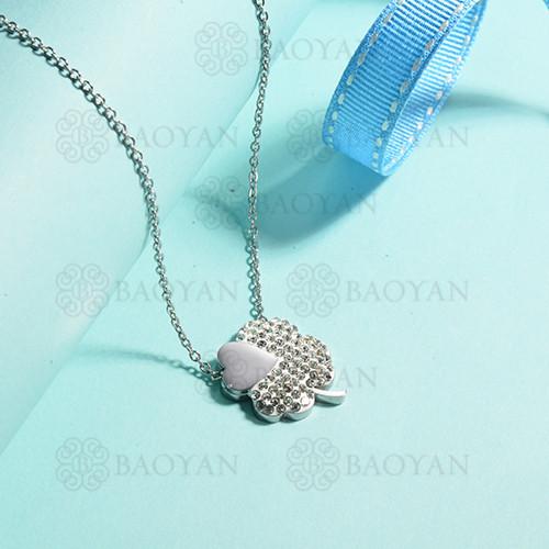 collares de acero inoxidable para mujer -SSNEG143-15384-S