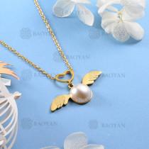 Collar de Perla Imitacion en Acero Inoxidable -SSNEG143-12085