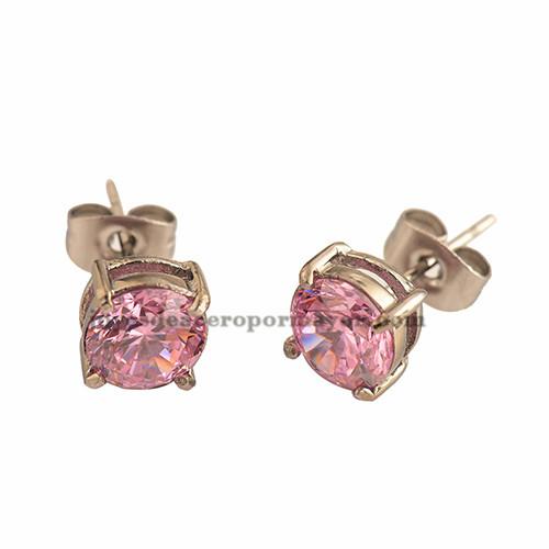 9mm arete de brillo rosa 9mm de moda para chicas -SSEGG492125
