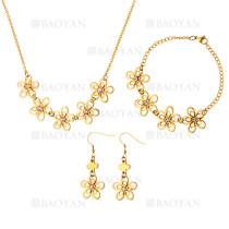 juego collar pendientes y brazalete de flores moda en acero dorado inoxidable -SSNEG1153593