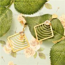Pendientes de Acero Oro Dorado -SSEGG38-5480