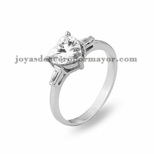 anillo con cristal de plateado en acero para mujer-SSRGG11477