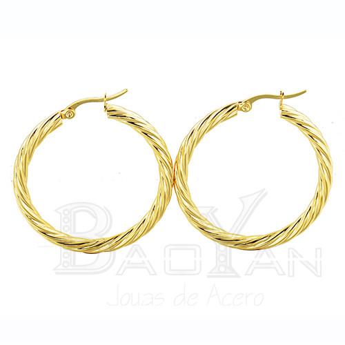 35mm aros dorados torcidos de accesorios de moda