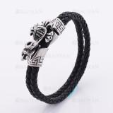pulsera de cuero negro con cobra en  acero plateado  inoxidable-SSBTG1145331