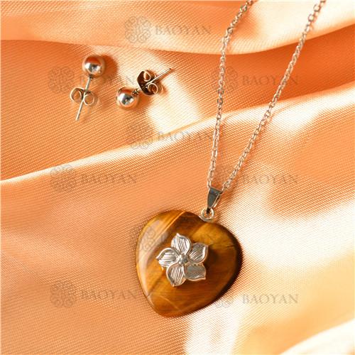 Collar con Aretes con Piedra Natural en Acero Inoxidable -SSNEG143-9500