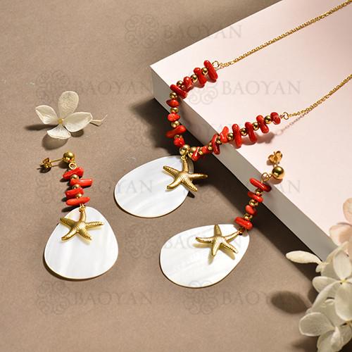 conjunto de collar y aretes en acero inoxidable -SSCSG142-15104