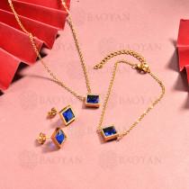 conjunto de collar y aretes en acero inoxidable -SSBNG126-15046