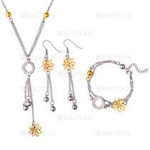 juego collar,pendientes y brazaletes de flores dorado y circulos plateado brillo en acero inoxidable -SSNEG1153610