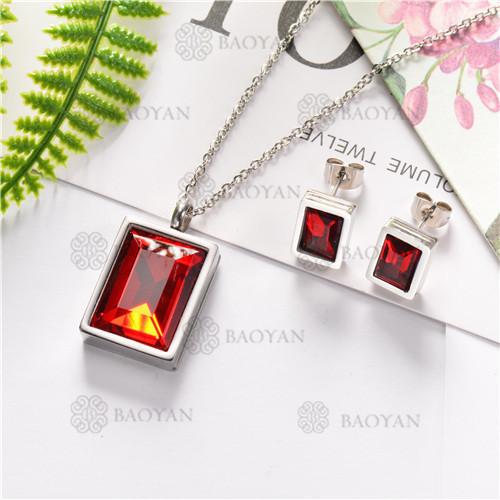 Conjunto de Cristal Rojo con Collar y Aretes para Mujer -SSNEG126-7221