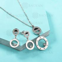 Conjunto de Collar de Numerales romanos en Acero Inoxidable -SSNEG143-13042