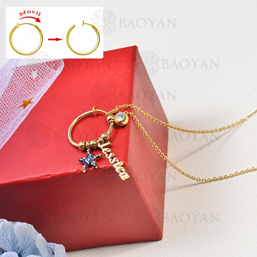 collar de charms DIY en acero inoxidable -SSNEG142-16259