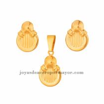 dije y aretes en acero de dorado para mujer-SSSTG073446