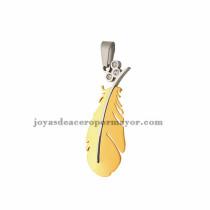 dije de pluma con cristal de color dorado en acero inoxidable-SSPTG971118