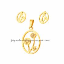 juego de dije y aretes de flor de dorado en acero inoxidable-SSSTG073258