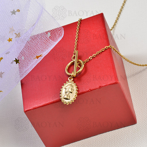 collar de charms moneda en acero inoxidable -SSNEG142-16229